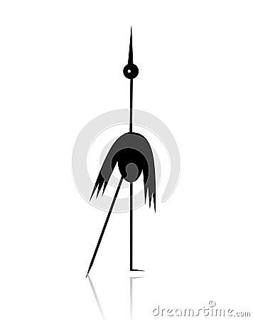 Funny stork black silhouette