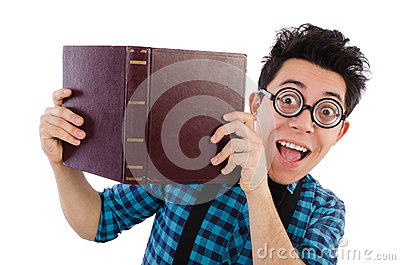 Funny student with books Stock Photo