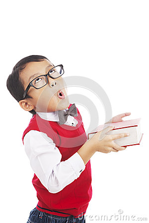 Funny student holding book