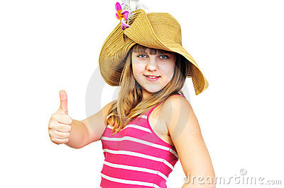 Funny summer teen showing thumbs up
