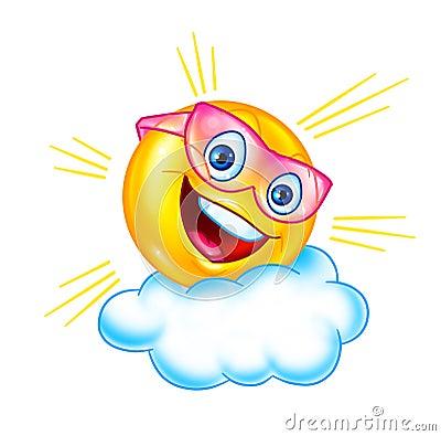 Funny sun and cloud cartoon