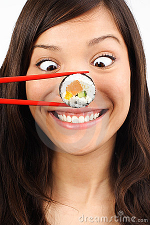 Free Funny Sushi Woman Stock Photography - 9807072