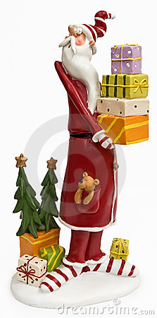 Funny tall skinny Santa Claus in red coat
