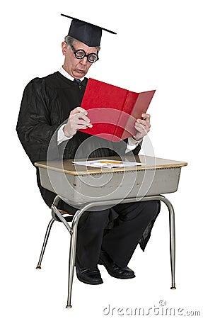 Funny Teacher, College Professor Read, School Desk
