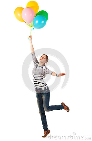 Funny teen girl posing with balloons