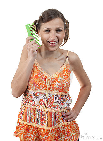 Funny teenager with comb over white