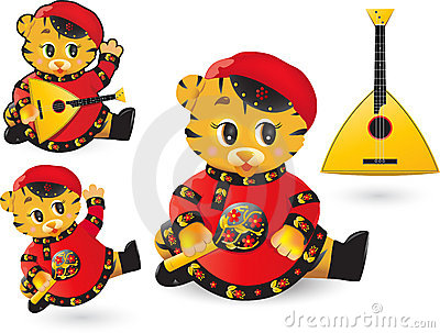 Funny tiger with balalaika