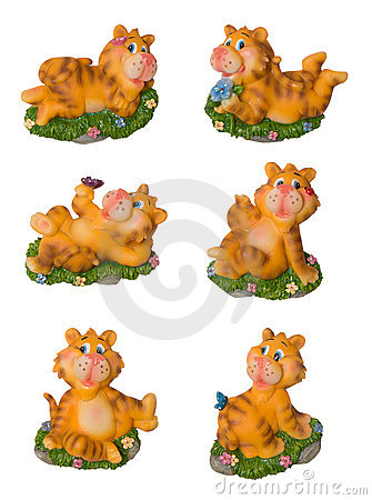 Funny tiger decoration souvenir  isolated