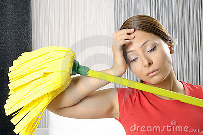 Funny tired house cleaning woman