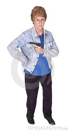 Funny Tough Mature Senior Woman, Hold Gun Isolated