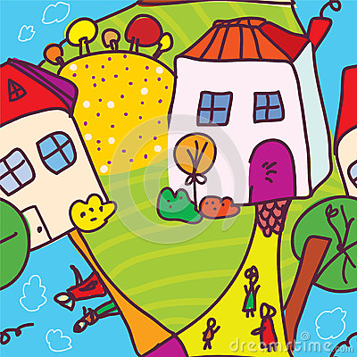 Funny town and people seamless pattern