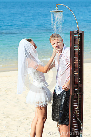 Funny tropical wedding