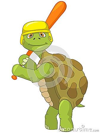 Funny Turtle. Baseball Player.