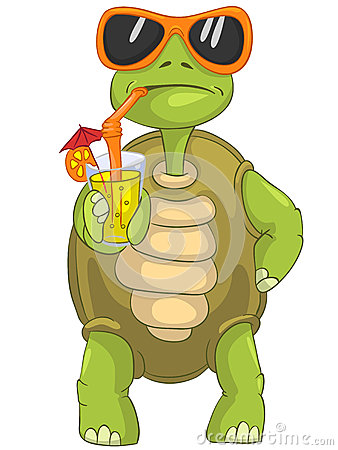 Free Funny Turtle Drinking Cocktail. Stock Images - 24673774