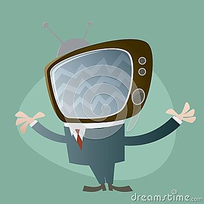 Funny tv head man