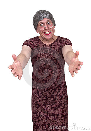 Funny Ugly Grandma or Old Maid Aunt, Hug and Love
