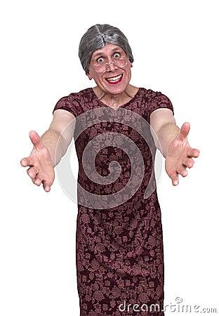 Funny Ugly Grandma or Old Maid Aunt, Hug and Love