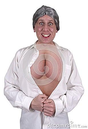 Funny Ugly Mature Senior Woman Big Breasts, Boobs