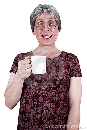 Funny Ugly Mature Senior Woman Drink Coffee