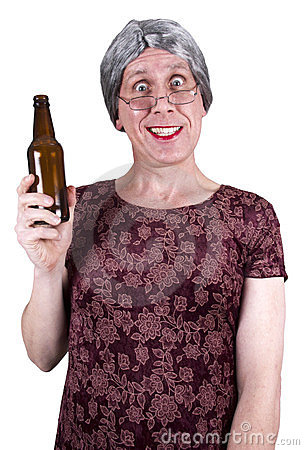 Funny Ugly Mature Senior Woman Drunk Drinking Beer