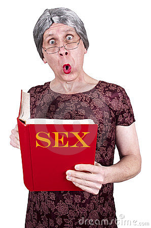 Funny Ugly Mature Senior Woman Shock Surprise Book