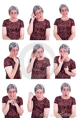 Free Funny Ugly Old Lady Drama Queen Facial Expressions Royalty Free Stock Photography - 22965497