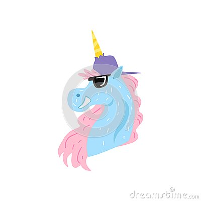 Funny unicorn character wearing cap and sunglasses cartoon vector Illustration on a white background Vector Illustration