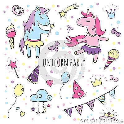 Funny unicorns set, collection of Happy Birthday. Vector Illustration