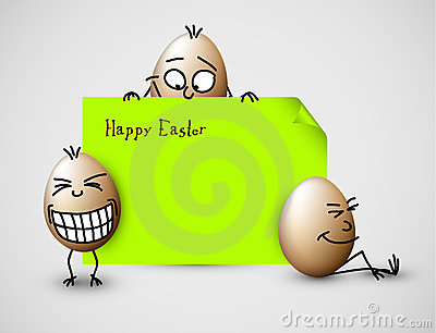 Funny vector easter card with eggs