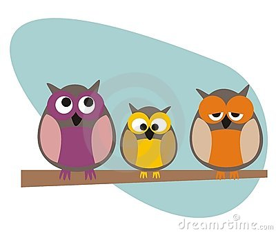 Funny vector owls family sitting on branch
