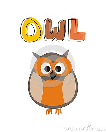 Funny vector staring orange owl sitting under hand
