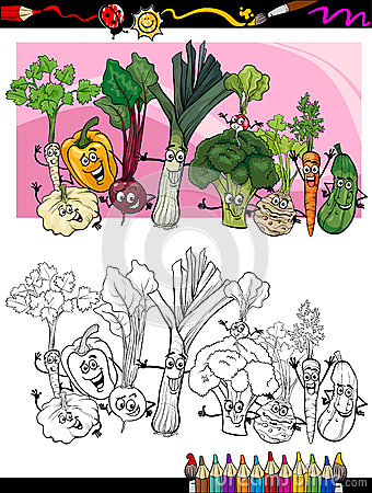 Funny vegetables cartoon for coloring book