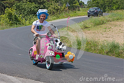 Funny Vespa sidecar Editorial Photography