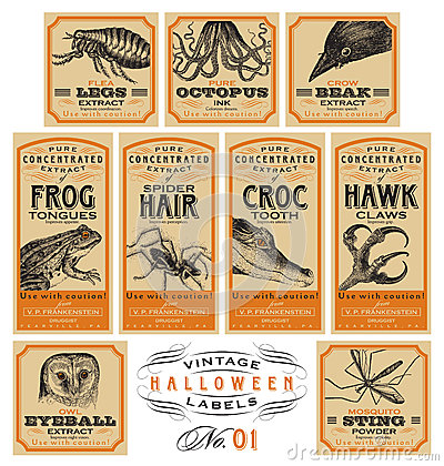 Free Funny Vintage Halloween Apothecary Labels - Set 01 (vector) Royalty Free Stock Images - 45787039
