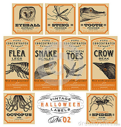 Free Funny Vintage Halloween Apothecary Labels - Set 02 (vector) Royalty Free Stock Photo - 45788325