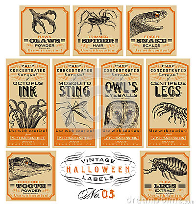 Free Funny Vintage Halloween Apothecary Labels - Set 03 (vector) Stock Photo - 45788740