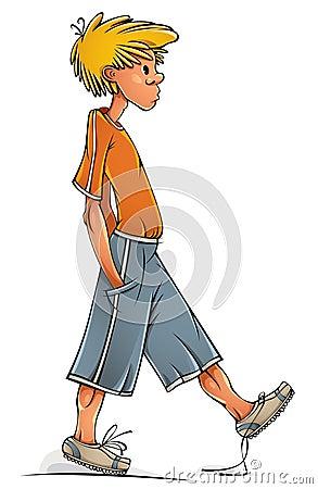 Funny walking boy.