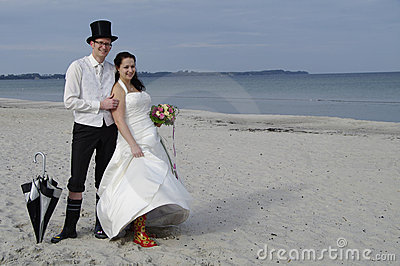 Funny wedding at the beach