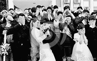 Funny wedding formal picture Editorial Image