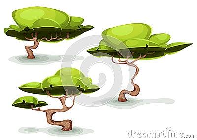 Funny Weird Trees For Fantasy Scenics Vector Illustration