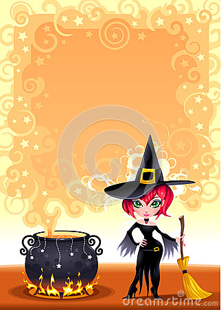 Funny witch with pot.