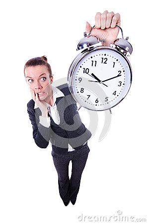 Funny woman with clock