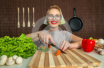 Funny woman cook
