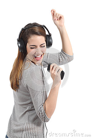 Free Funny Woman Dancing And Listening To The Music Stock Photo - 39296040
