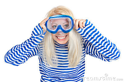 Funny woman in diving mask in sailor dress