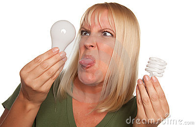Funny Woman Holding Energy Saving & Regular Bulbs