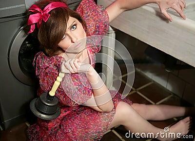 Funny woman housewife, kitchen metaphor