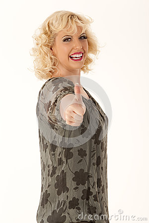 Funny woman with oversized thinks positively