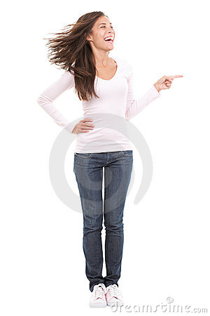 Funny woman pointing