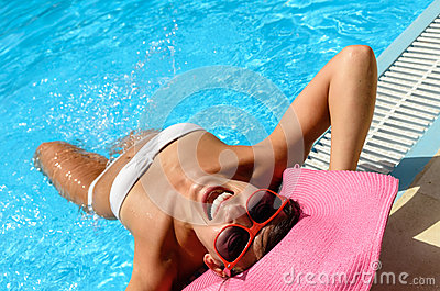 Funny woman in pool